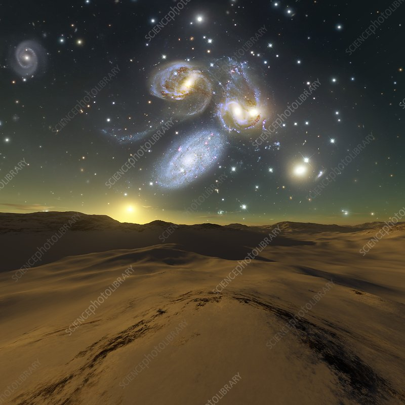 Alien planet and galaxies, illustration