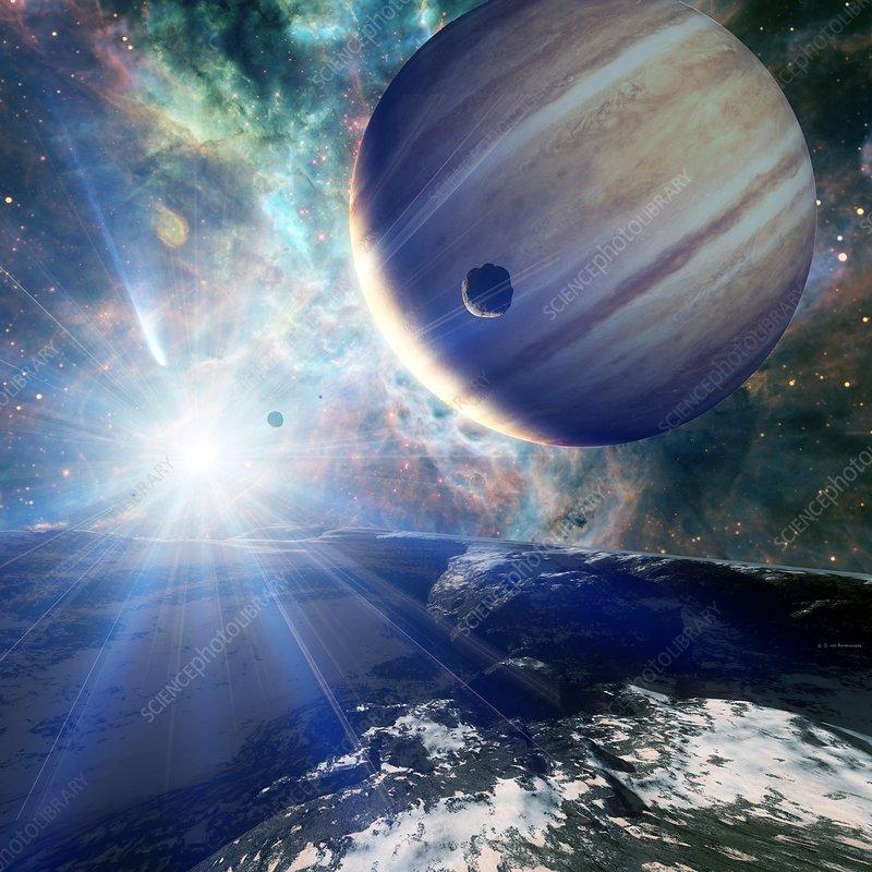 Alien planetary system, illustration