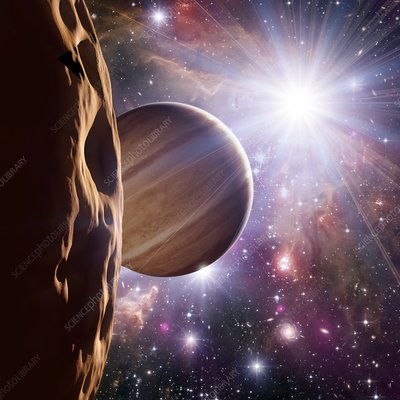 Alien planet and star cluster