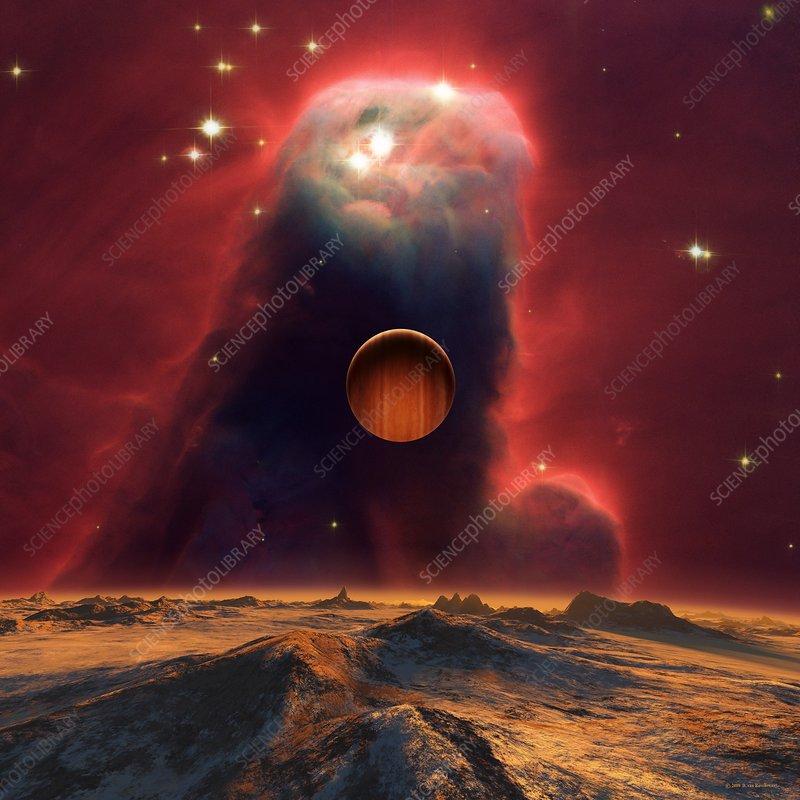 Alien planets and nebula, illustration