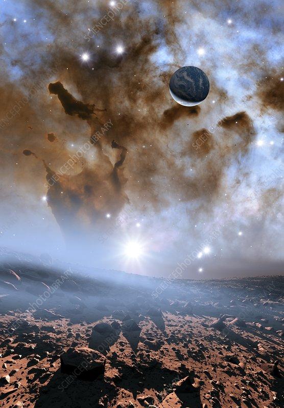 Earth-like alien planet and nebula