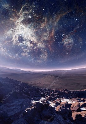 Alien planet and nebula, illustration