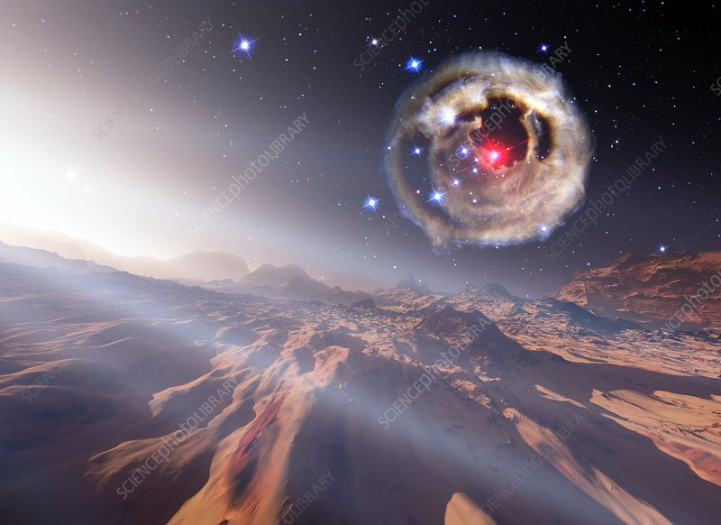 Alien planet and supernova