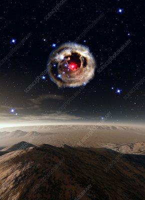 Alien planet and supernova