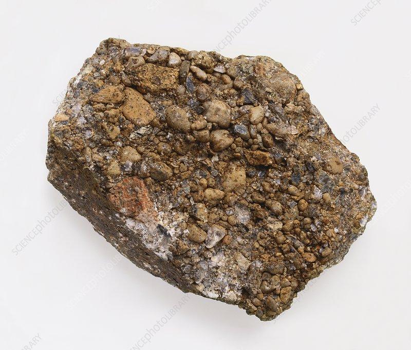 Polygenetic conglomerate rock