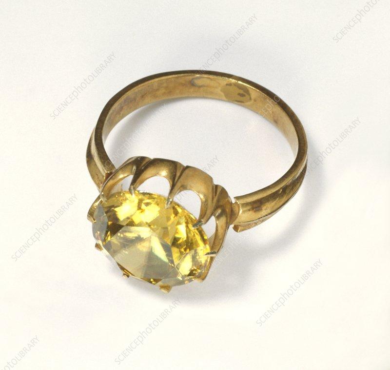 Titanite stone set in antique gold Ring