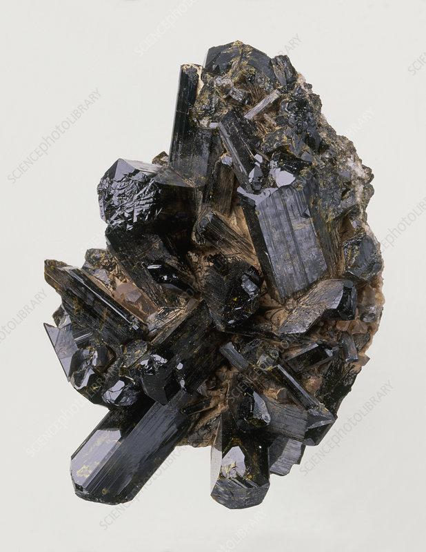 Epidote crystals in rock groundmass