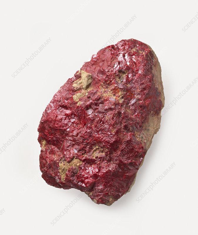 Cinnabar on rock surface, close-up