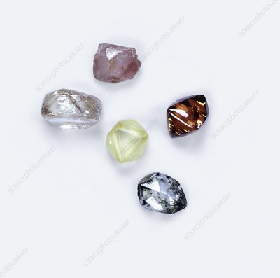 Rough and uncut diamonds