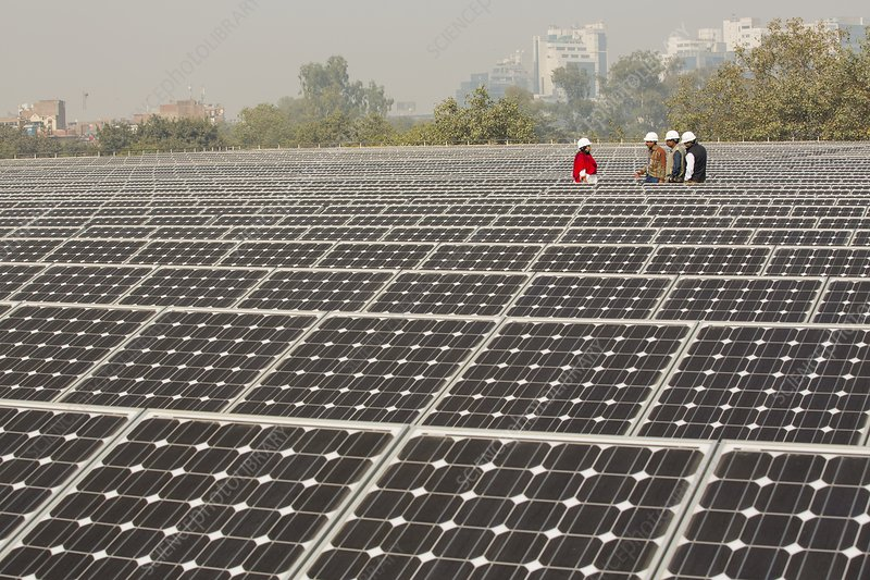 Workers At A 1 Mw Solar Power Station Stock Image C024