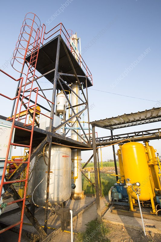 Biogas plant, India - Stock Image - C024/2718 - Science