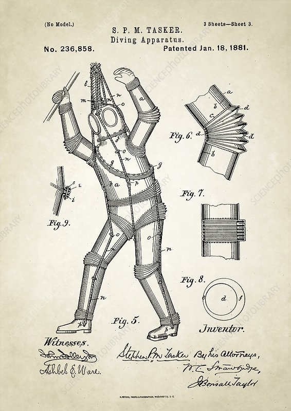 Diving apparatus patent, 1880