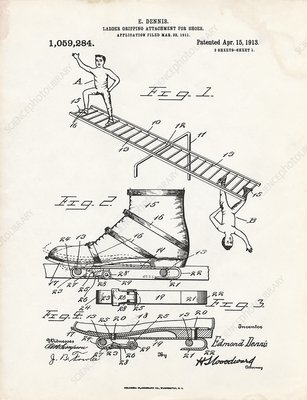 Ladder gripping attachment patent, 1913