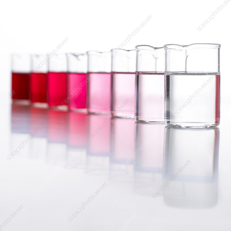Water samples coloured with beetroot
