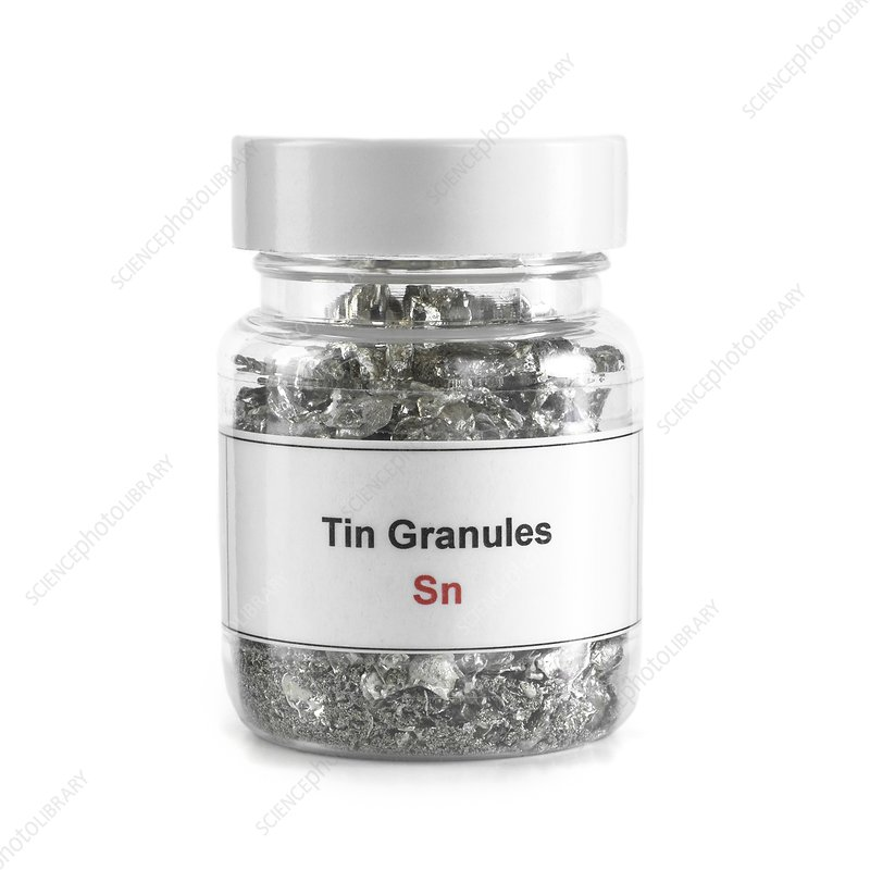 Jar containing tin granules