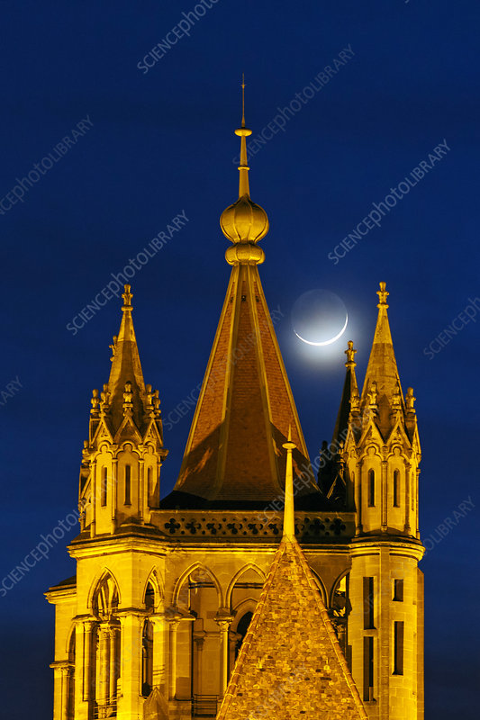 Moon over cathedral