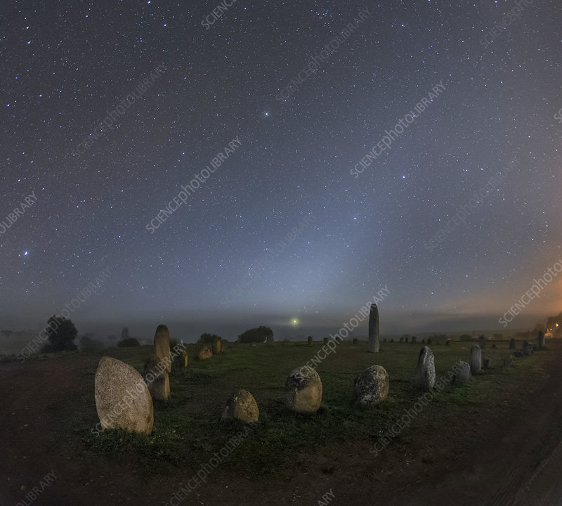 Night sky over stone circle, Portugal