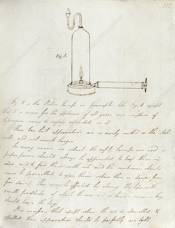 Notes on Davy safety lamp, 19th century