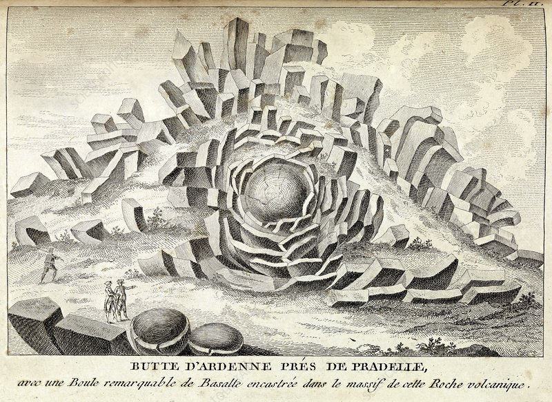 Volcanic basalt formations, 18th century