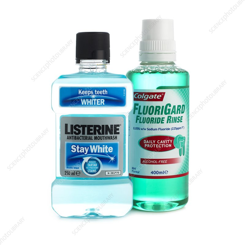 Bottles of mouthwash