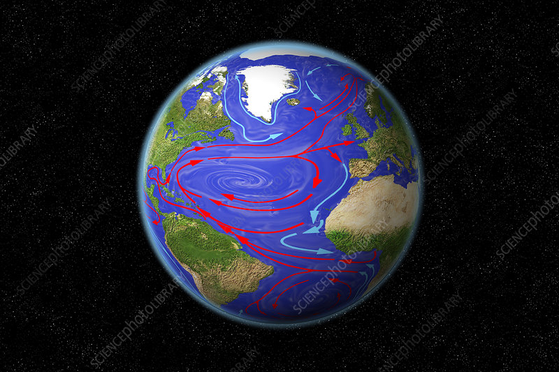Atlantic Ocean Currents, illustration