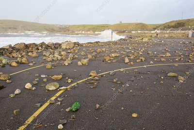 Debris hurled onto the seafront