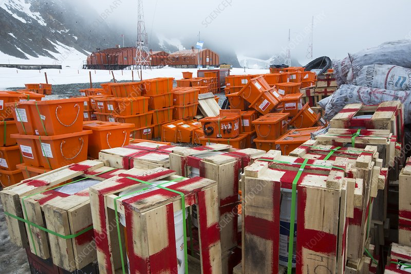 Supplies at Base Orcadas, Antarctica