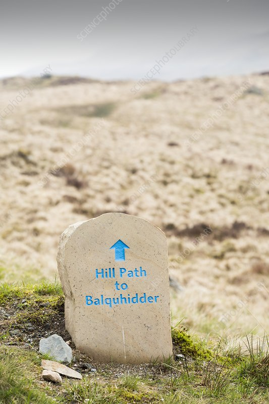 A hill path sign below Ben Vane