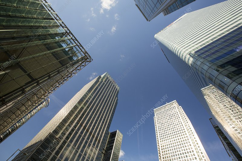 Banks in Canary Wharf, London, UK