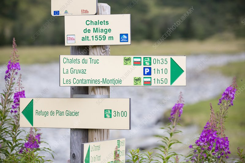 Footpath signs on the Tour du Mont Blanc