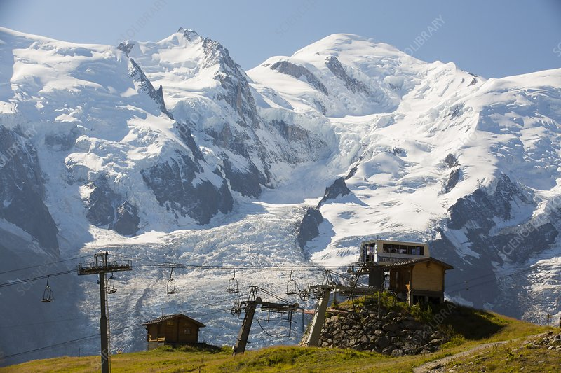 A chair lift in front of Mont Blanc