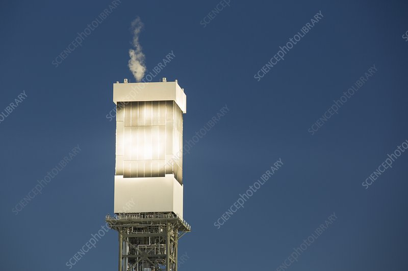 Solar tower venting steam, Ivanpah, USA