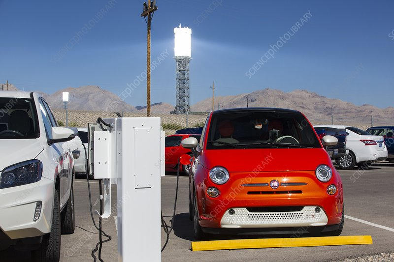Electric cars being recharged