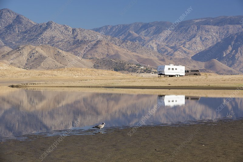 RV during drought, Lake Isabella