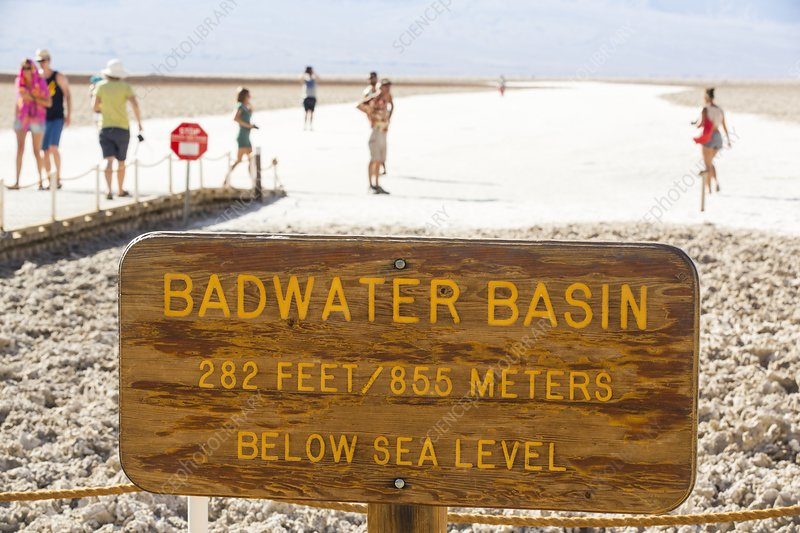 Tourists on salt pans Badwater