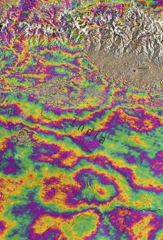 Nepal earthquake deformation, 2015