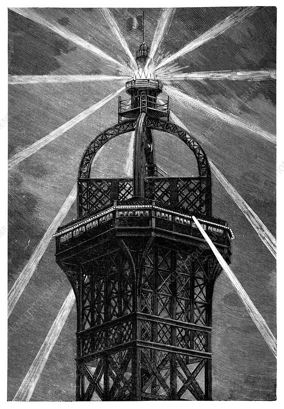 Eiffel Tower's electric lamp, 1889