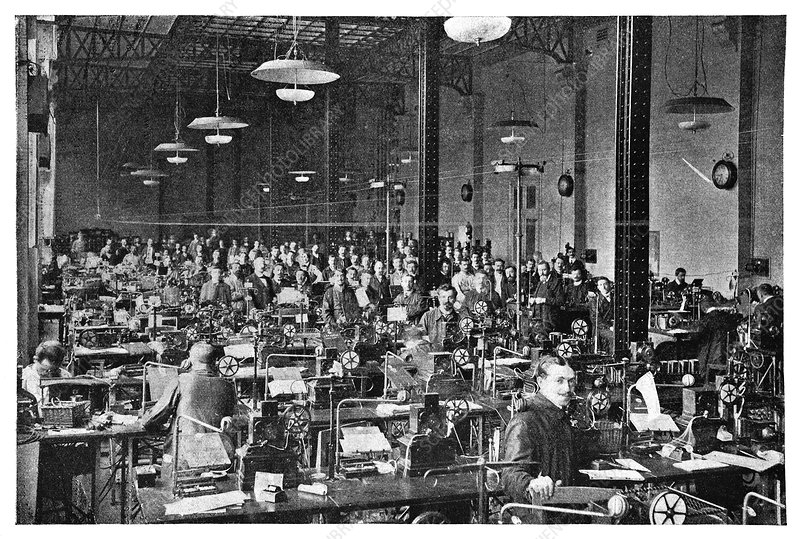 Baudot telegraph system, 19th century - Stock Image C024 ...  Baudot telegrap...