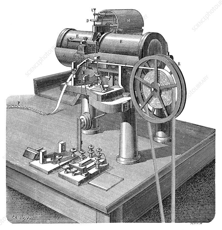 Thomson telegraph recorder, 19th century - Stock Image ...  Thomson telegra...