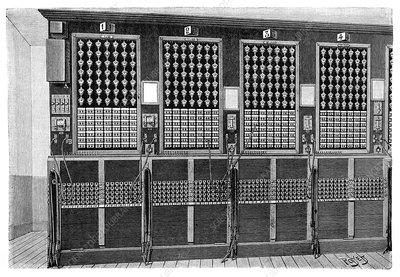 Central telephone exchange, 19th century