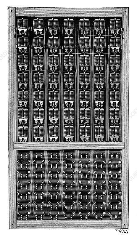 Telephone switchboard, 19th century