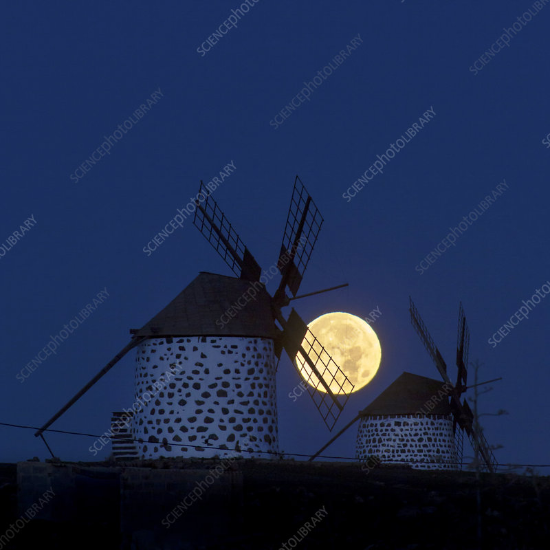 Full moon and windmills