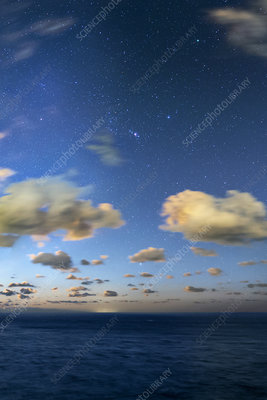 Night sky over the Atlantic Ocean