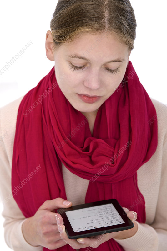 Woman using e-reader