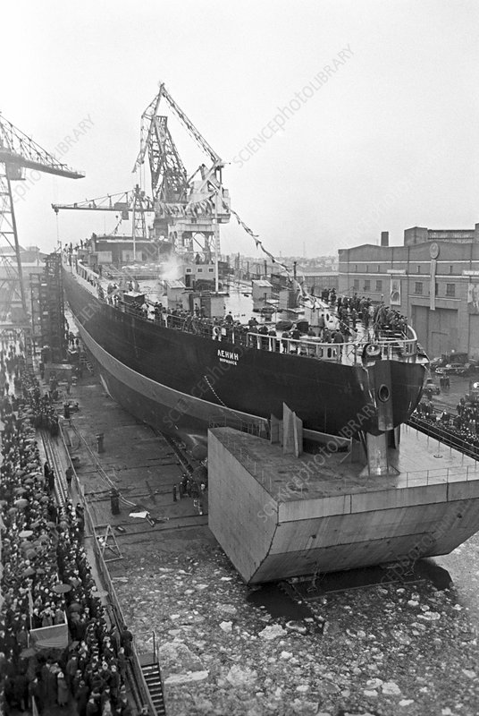 Launch of nuclear icebreaker, 1957