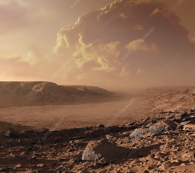 Dust storm on Mars, artwork