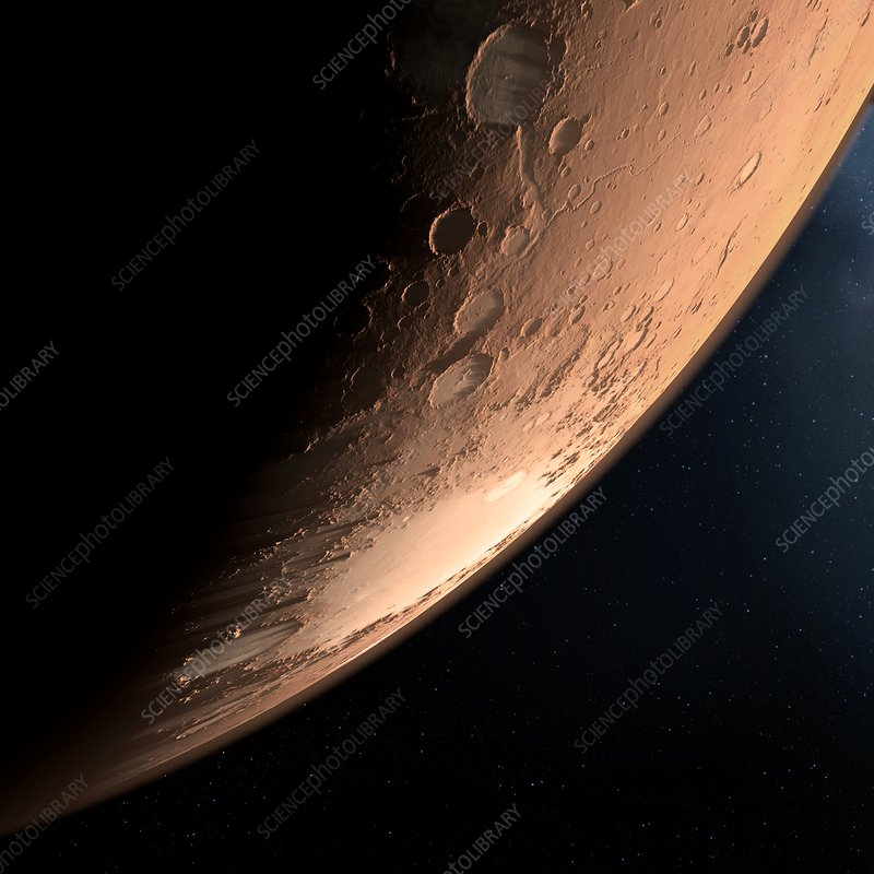 Impact craters, Mars, artwork