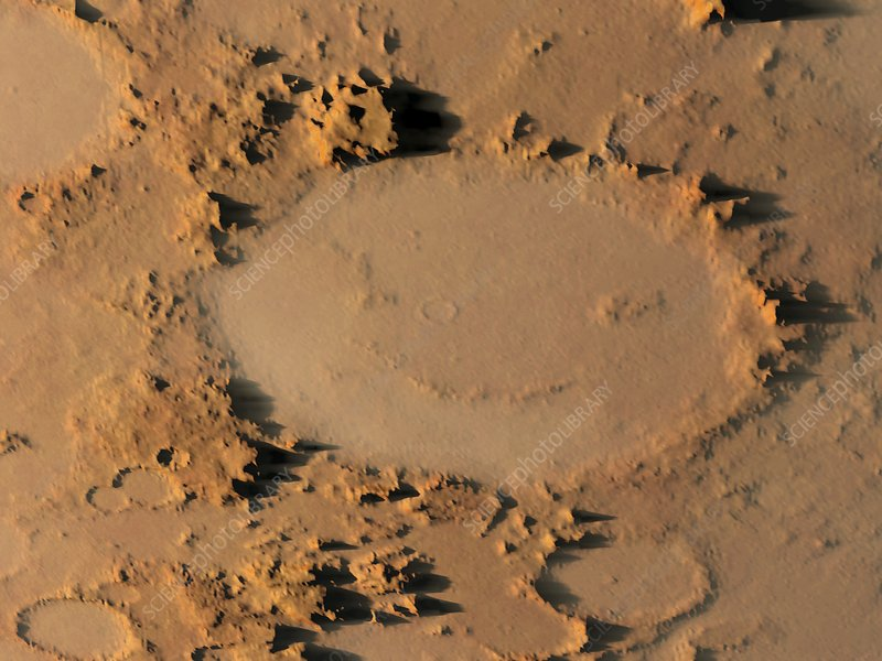 Happy face crater, Mars, artwork