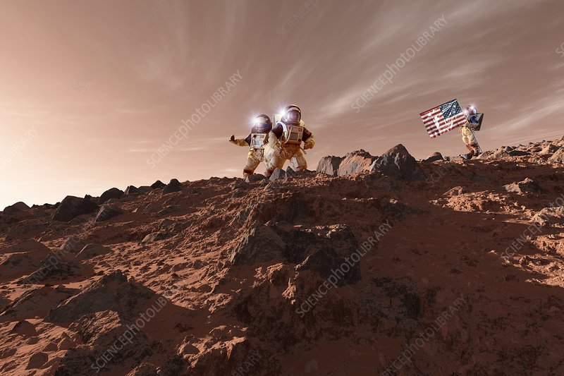 US astronauts on Mars, artwork