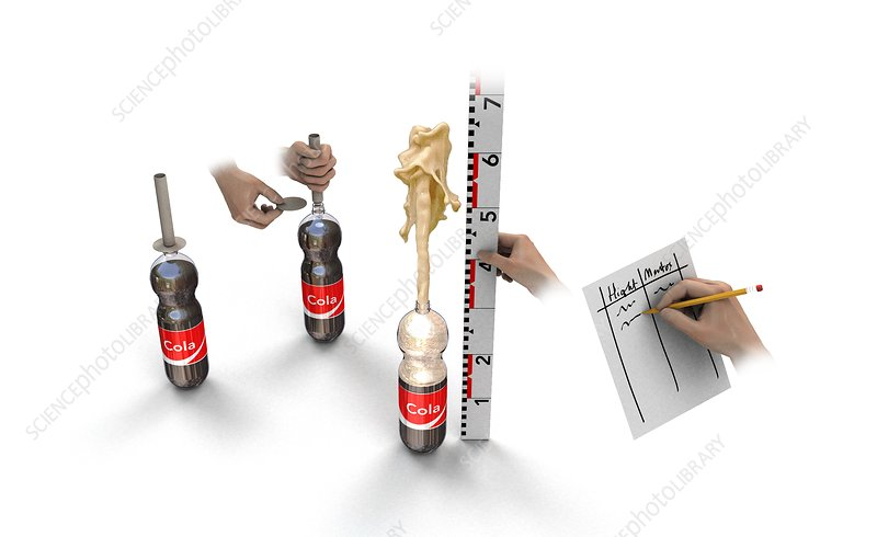 Cola and Mentos experiment, illustration